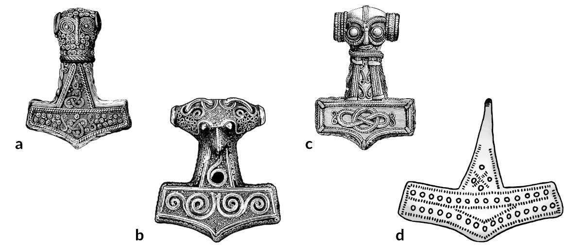Thorskopf Mjölnir Anhänger Amulett Thorshammer Vikings Wikinger Thor